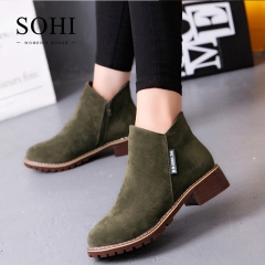 SOHI 1 Pairs Size 35-38 Matte Retro Casual Classic Ankle Boots Women's Shoes army green 35