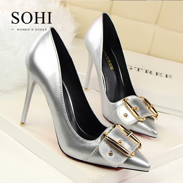 SOHI 1 Pairs PU Pointed Toe Metal Belt Buckle Heels Sandals Women'S Shoes silver 34