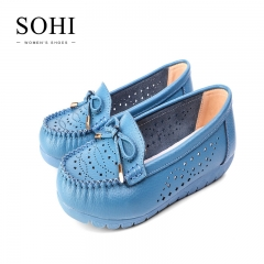 SOHI 1 Pair Hollow Bowknot Slip On Shoes Women Casual Soft Flat Lady Working Shoes blue 35