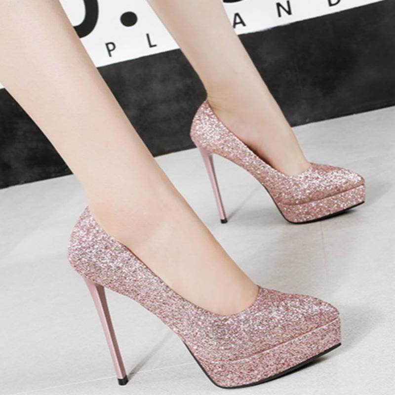 4c222ab20bf SOHI 1 Pairs PU Pointed Toe Thin Heel Platform Sexy Sequins High ...