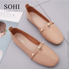 SOHI 1 Pairs PU Causal Bead Platform Loafers Shoes Slip On Square Toe Women's Shoes camel 35