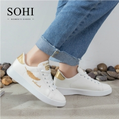 SOHI 1 Pairs PU Size 35-40 Embroidery Leaf White Shoes Flats Sneakers Shoes Women gold 39