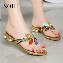 SOHI 1 Pairs Size 35-41 Sexy Hollow Flowers Metal Crystal Slipper Women's Shoe gold 35