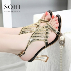 SOHI 1 Pairs Size 35-41 Sexy Hollow Metal Crystal Sandals Women's Shoes black 35