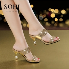 SOHI 1 Pairs Size 35-41 Peep Toe Sexy Flower Hollow Metal Crystal Slip on Slippers Women's Shoes gold 35