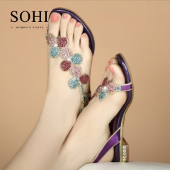 SOHI 1 Pairs Size 35-41 Peep Toe Sexy Flower Hollow Metal Crystal Buckle Strap Sandals Women's Shoes purple 35