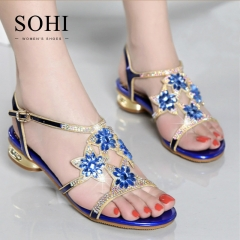 SOHI 1 Pairs Size 35-41 Peep Toe Sexy Flower Hollow Metal Crystal Buckle Strap Sandals Women's Shoes blue 35