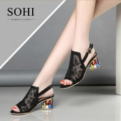 SOHI 1 Pairs Size 35-41 Peep Toe Sexy Flower Hollow Crystal Buckle Strap Sandals Women's Shoes black 34