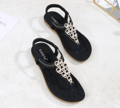 SOHI Summer new flat bottom bohemian rhinestones large size foreign trade women's sandals wholesale black 36