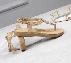 SOHI Summer new flat bottom bohemian rhinestones large size foreign trade women's sandals wholesale beige 42