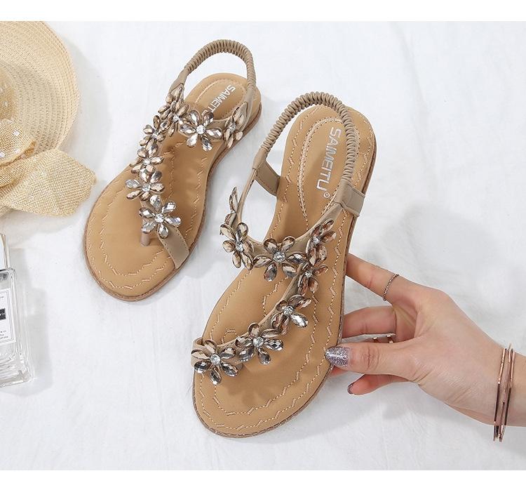96bafb0da SOHI Women s sandals comfortable rhinestones toe flat-bottom large ...