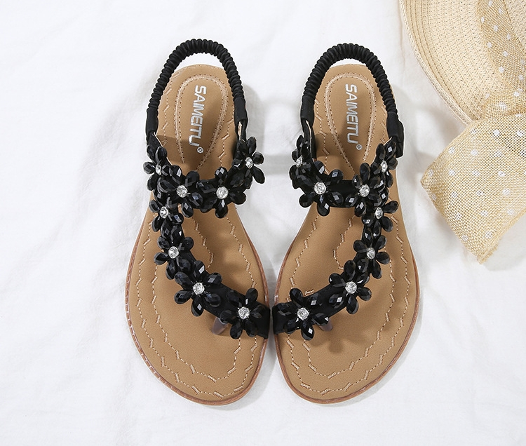 f4a919a76 SOHI Women s sandals comfortable rhinestones toe flat-bottom large ...