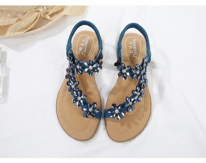 6764949d9a07 SOHI Women s sandals comfortable rhinestones toe flat-bottom large size  shoes women s wholesale blue 41