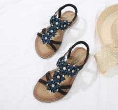 SOHI new summer Women's sandals large size wild wear beach for holiday sandals black 35