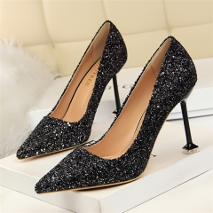 Sexy nightclub party gradient color stiletto high heel shallow mouth pointed sequined women shoes black 34