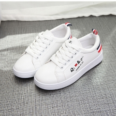 Small white shoes women new single shoes wild flat shoes Korean casual shoes sports shoes red and black 38