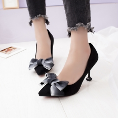 new pointed evening dress party high heels female bow versatile stiletto professional work shoes black 34