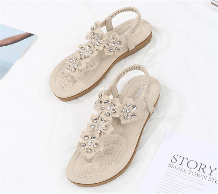 66e0b9c1b SOHI Summer new arrival flat sandals flowers bohemian large size women s  shoes apricot 35