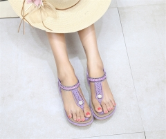 SOHI Summer new arrival bohemian woven flat female sandals large size for wholesale purple 36