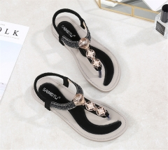 SOHI Summer new bohemian flat women shoes sandals comfortable large size women's sandals wholesale black 36