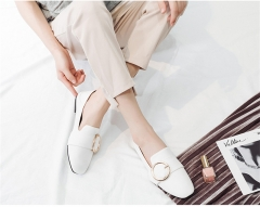SOHI Harajuku style peas women shoes female flat shoes round buckle belt new retro small shoes white 34