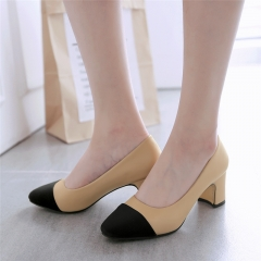 SOHI new arrival women square head high heel peas shoes thick with women's shoes apricot 35