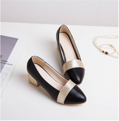 SOHI Explosion women high heels fashion wild single shoes pointed shallow mouth women's shoes black 33