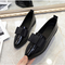 SOHI Women Shoes Loafers Patent Leather Slip Fashion Super Promotion black 40