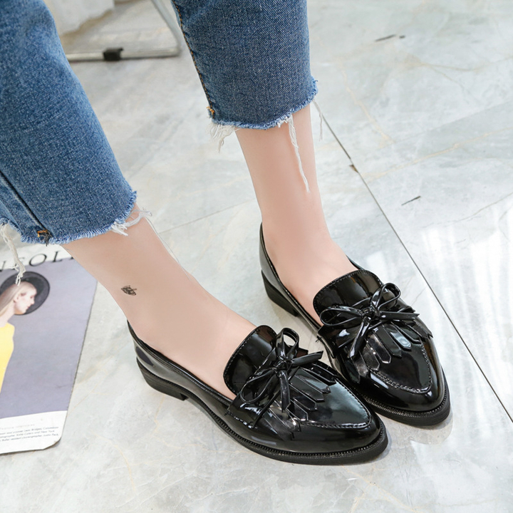 SOHI New Bow Tassel Single Shoes Women's flat-bottomed Pointed Small Shoes Fashion Wild Women Shoes black 36