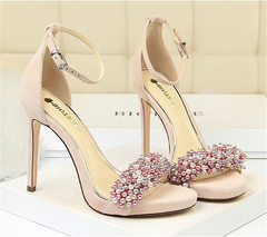 SOHI Sexy Women's Shoes Super High Heel Waterproof Platform Suede Pearl Rhinestone Word With Sandals pink 34