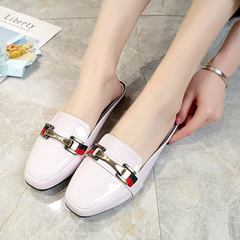 SOHI New Square Head Patent Leather Metal Half Tow Out flat Slippers Women's Shoes white 35