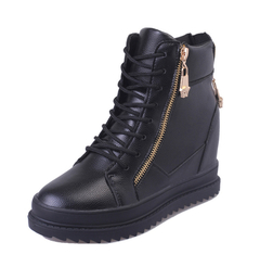 SOHI New women's boots increased zipper platform high-top lace women's casual shoes black 40