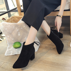 Women's shoes pointed high-heeled thick with bare boots fashion classic women's boots black 34