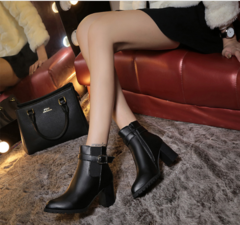 Classical Women Pointed Toe Ankle Boots Fashion Cow Leather Shoes black 35