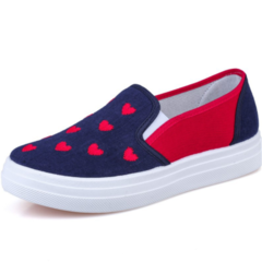 SOHI Student canvas shoes female one pedal lazy love pattern low to help breathable shoes blue 35