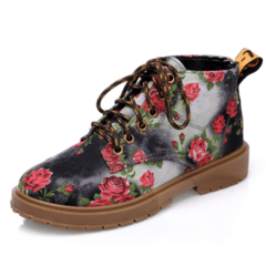 SOHI Denim Floral Casual Single Women's Boots Flat with Printed Retro High Help Martin Boots black 36