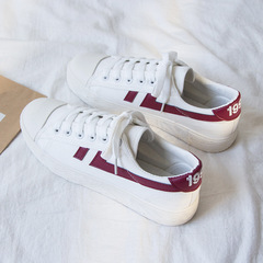 SOHI Autumn new women canvas shoes students plate casual shoes low girl white shoes red 35