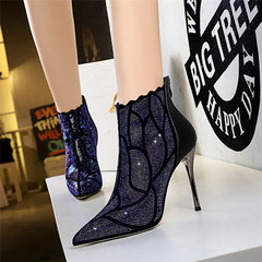 SOHI Women fashion sexy super high heel boots lady pointed thin nightclub rhinestone ankle boots black 34