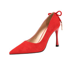 SOHI Women fashion high heels lady sweet bow shoes professional OL shoes red 34