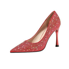SOHI Women fashion high heel lady sexy banquet slim satin rhinestone party shoes red 34