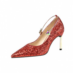 SOHI Wedding shoes women sexy high heel lady  crystal shoes party shoes red 34