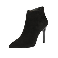 SOHI Women Fashion  Boots Pointed High Heels Martin Boots Lady  Suede  Boots black 34