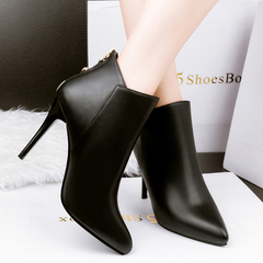 SOHI Women sexy elegant ankle boots lady ultra high heel  slim  shoes black 34