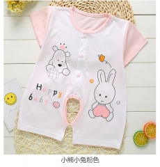 ON SALE..Newborn Baby Jumpsuit Children's Short Sleeves Climb To The Crotch To Breathe Baby Clothes. Little bear bunny ye 66 yards (3-6 months