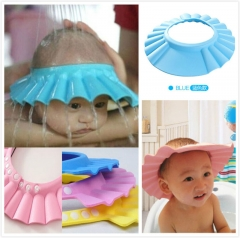 New Baby Children Kids Safe  Bath Bathing Shower Hat Wash Hair Shield adjustable elastic Shampoo Cap blue free size
