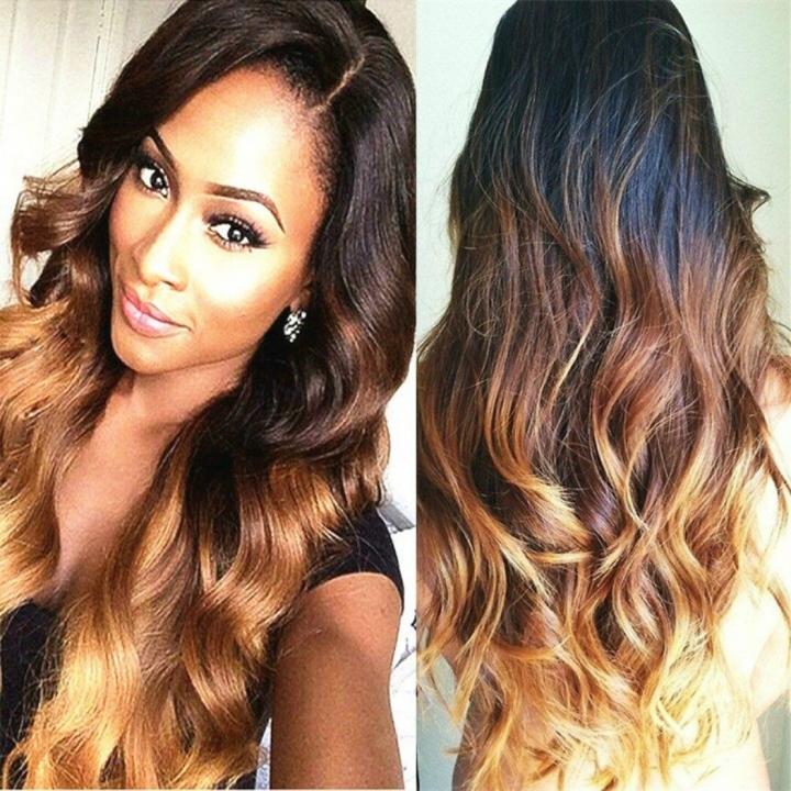 Black Brown Blonde Long Wavy Wig Heat Resistant Synthetic Hair Fiber
