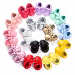 12 Colors Tassels Baby Moccasin Newborn Babies Shoes Soft Bottom PU leather Prewalkers Boots yellow S(11cm/4.33
