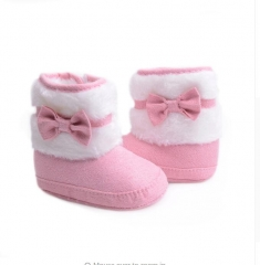 2018 Knitting Hand-made Bowknot Fleece Snow Boots For Baby Girl Boy Booties Baby Shoes 0-18 Months pink l(13cm/5.12