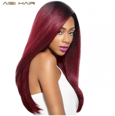 Synthetic Ombre Red Wigs for Black Women Long Straight Cosplay Grey Hair Free Shipping can be Curled wine red 26inch