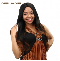 AISI HAIR synthetic Ombre Wigs For Black Women Long Wavy Cosplay Dark Brown Hair black+brown 26inch